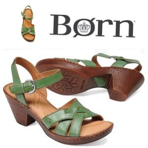 BORN BELINDA leather green comfortable sandal  9